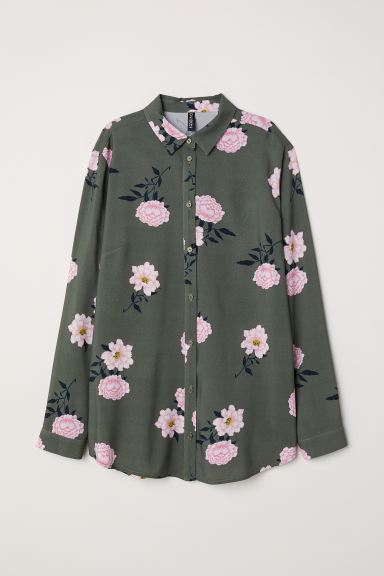 Camicia in viscosa - Verde kaki/fiori - DONNA | H&M IT