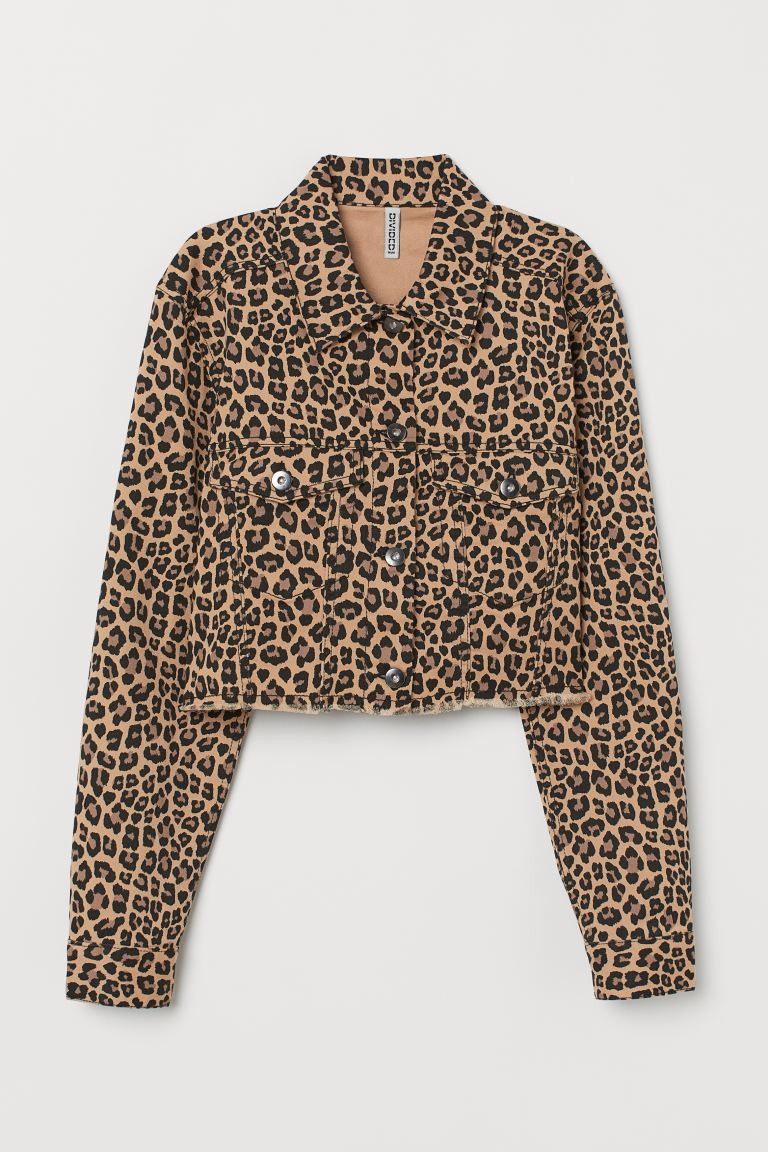 Short Denim Jacket - Beige/leopard print - Ladies | H&M US