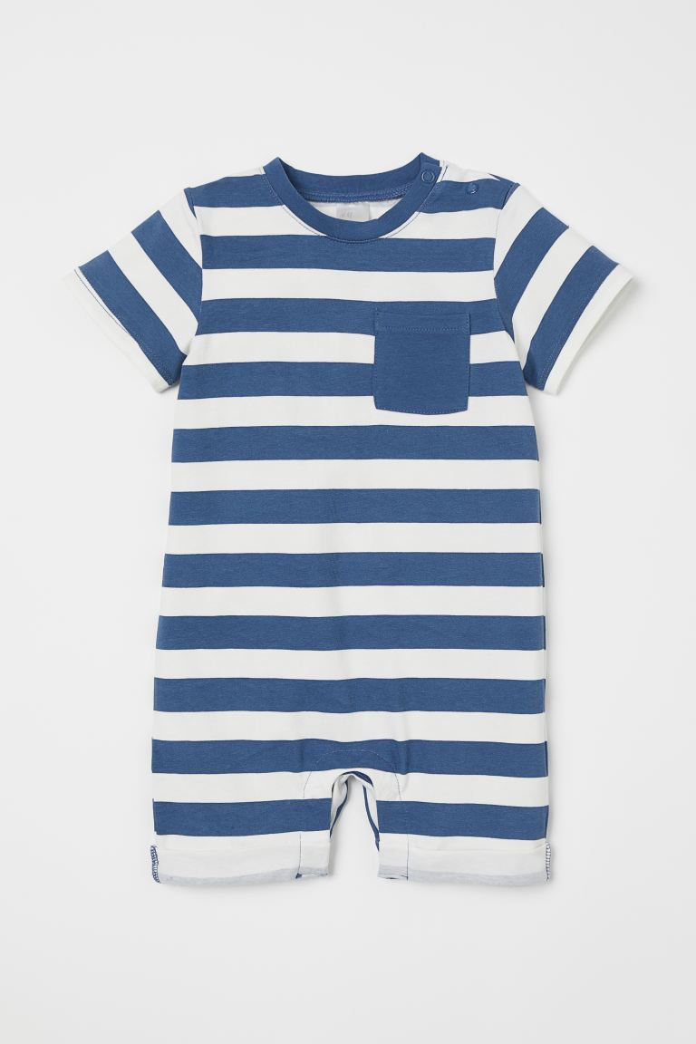 Patterned romper suit - Blue/White striped -  | H&M
