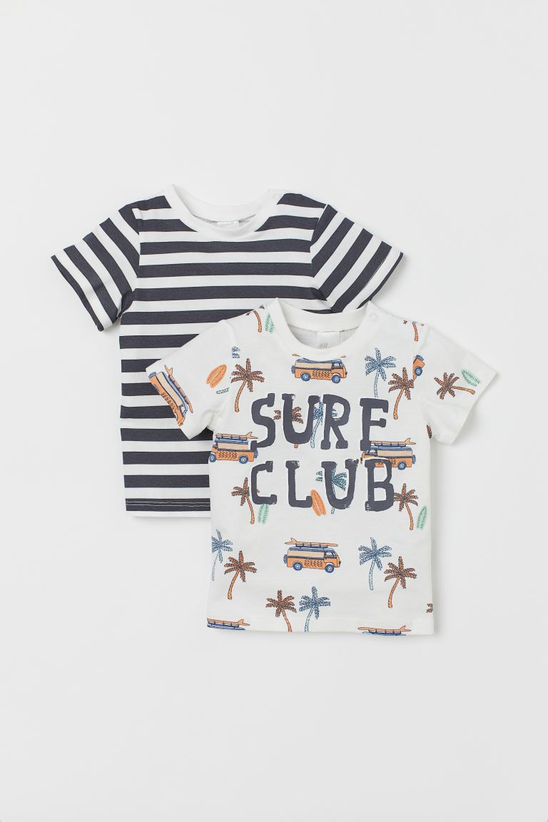 2er-Pack T-Shirts aus Jersey - Weiß/Surf Club - Kids | H&M AT