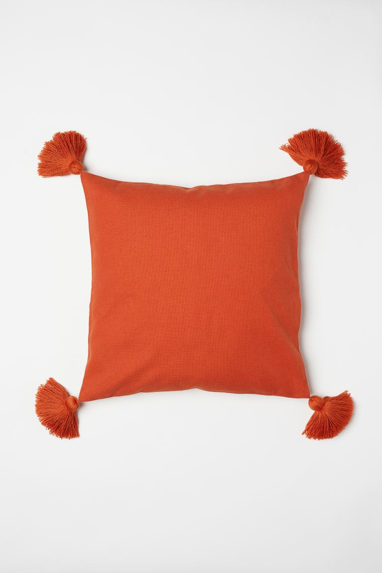 Cushion Cover with Tassels - Dark orange - Home All | H&M US