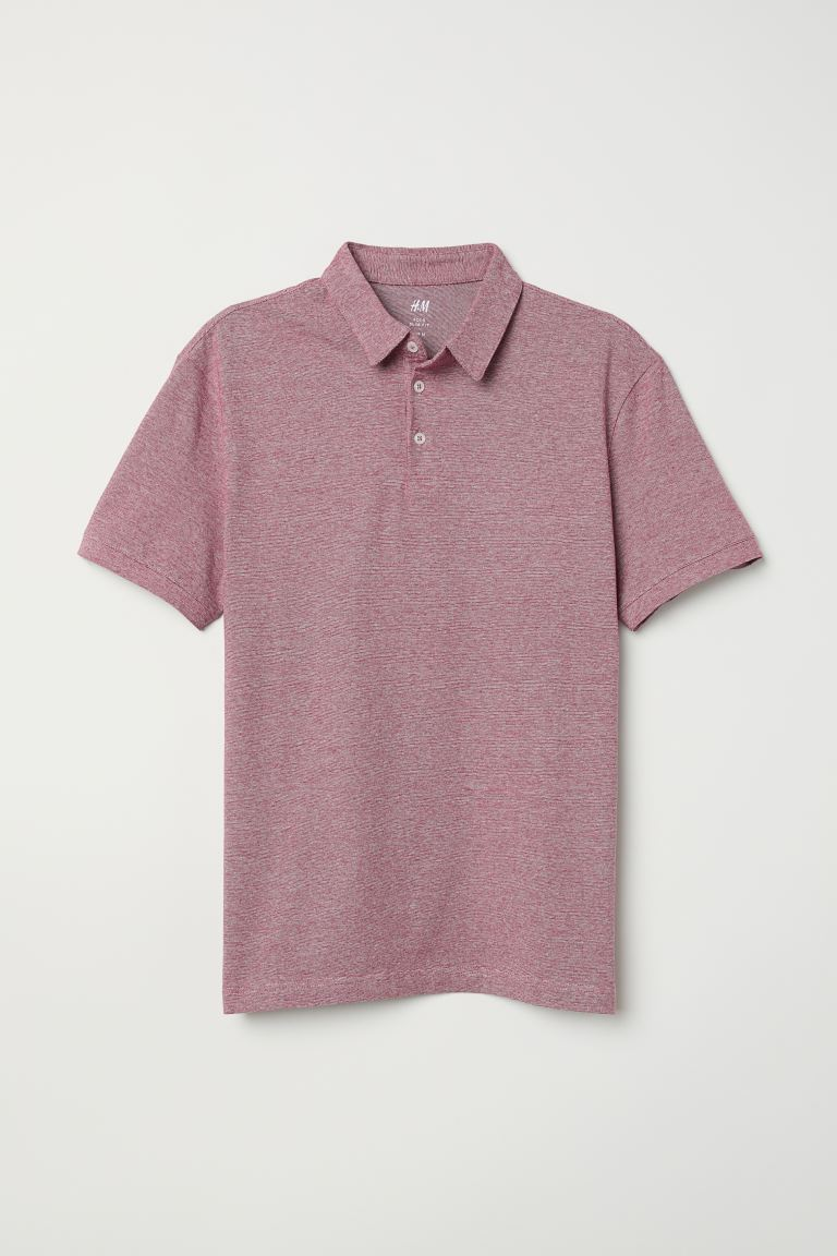 Polo Slim Fit - Rosso scuro mélange - UOMO | H&M IT
