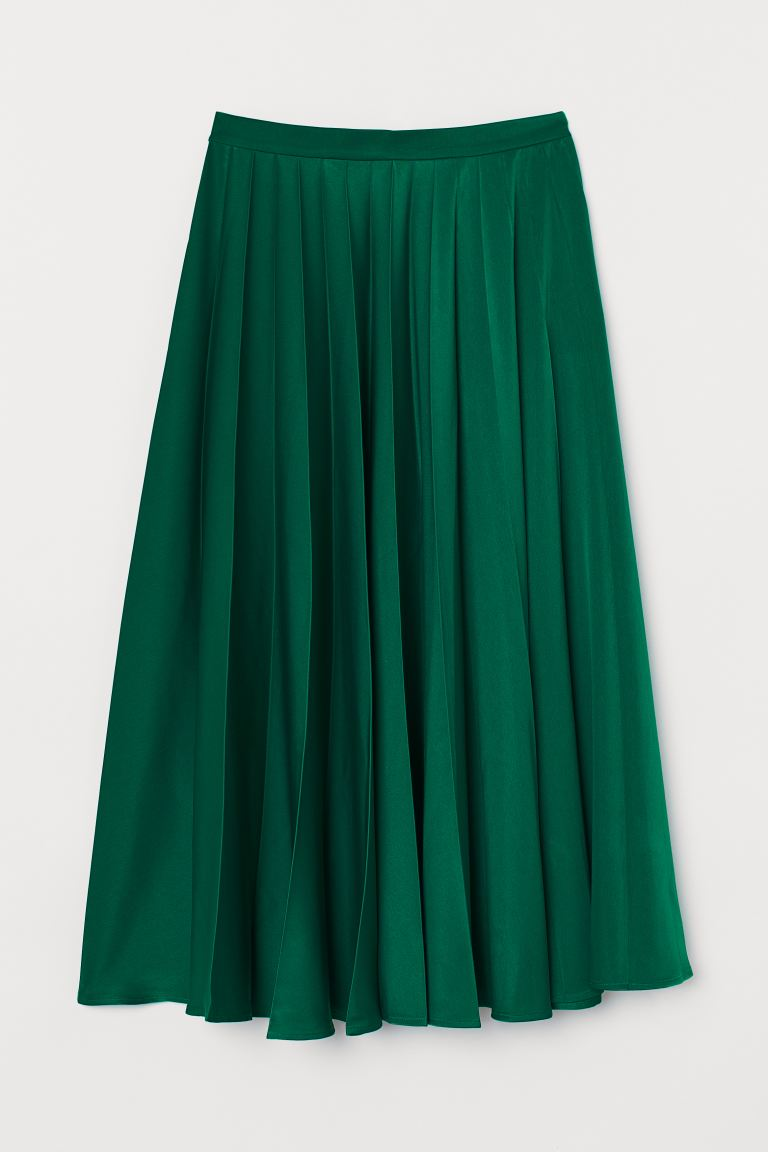 Pleated satin skirt - Green - Ladies | H&M GB