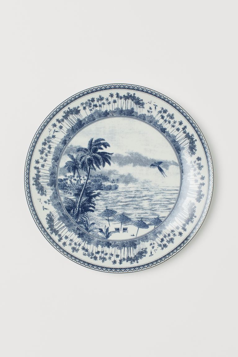 Porcelain Plate - White/blue patterned - Home All | H&M US