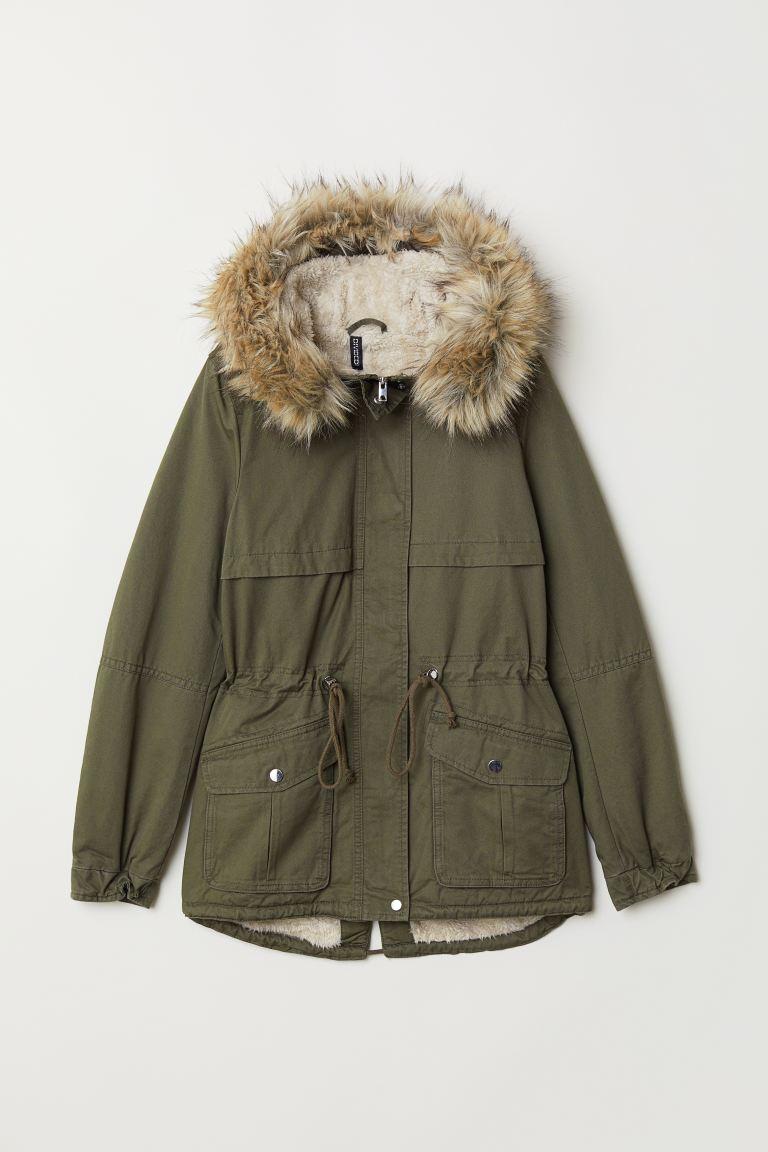 Pile-lined parka - Khaki green - Ladies   H&M GB