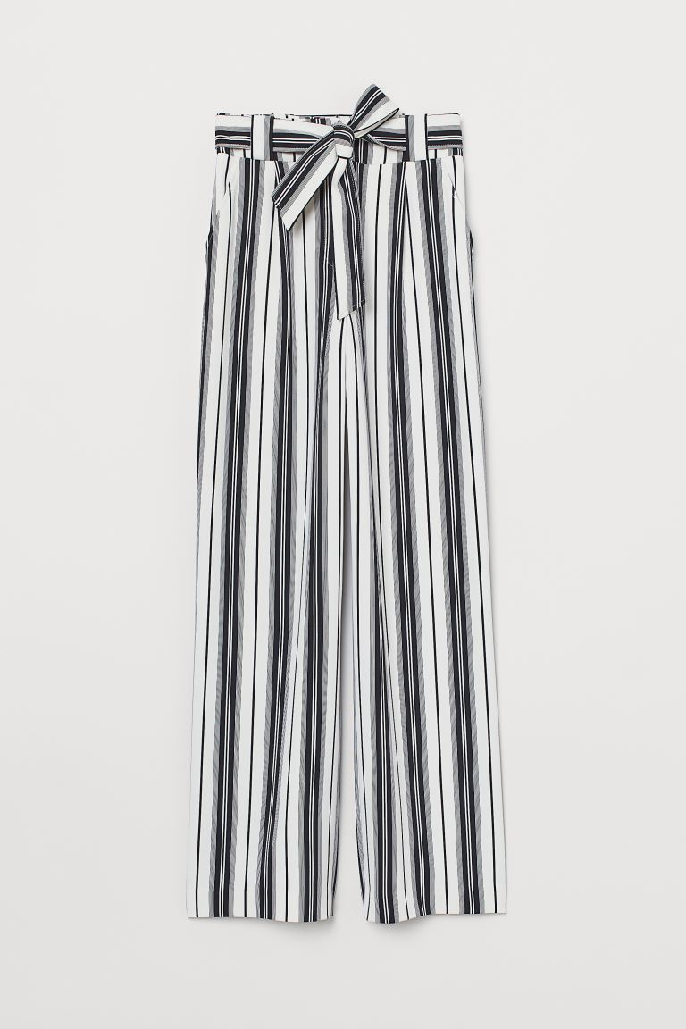 Trousers with a tie belt - White/Black striped - Ladies | H&M IN