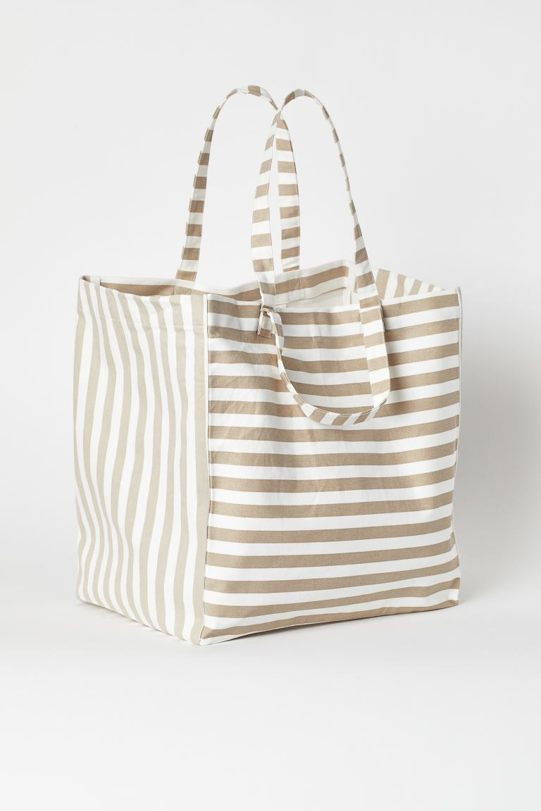 Spacious beach bag - Beige/White striped - Home All | H&M IE