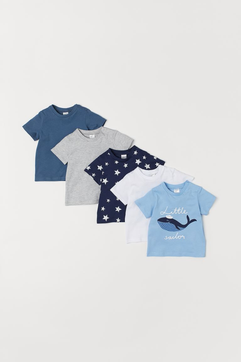 T-shirts, lot de 5 - Bleu - ENFANT | H&M CA