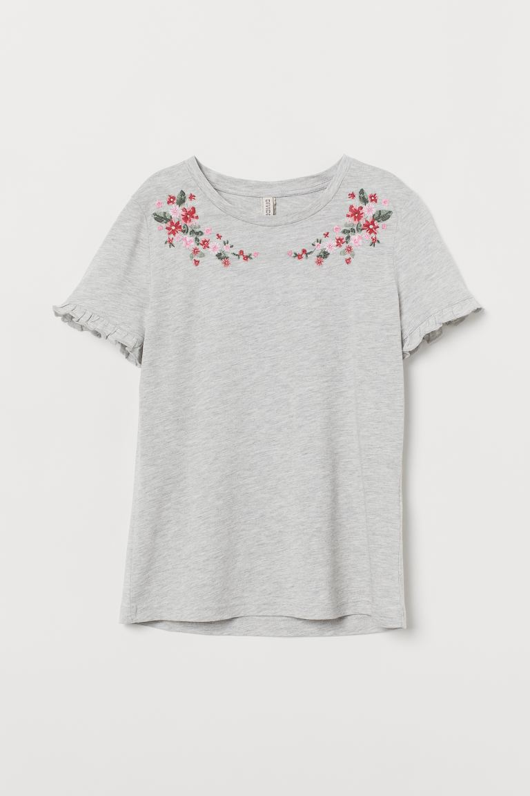 T-shirt with Embroidery - Light gray melange/flowers - Ladies | H&M US