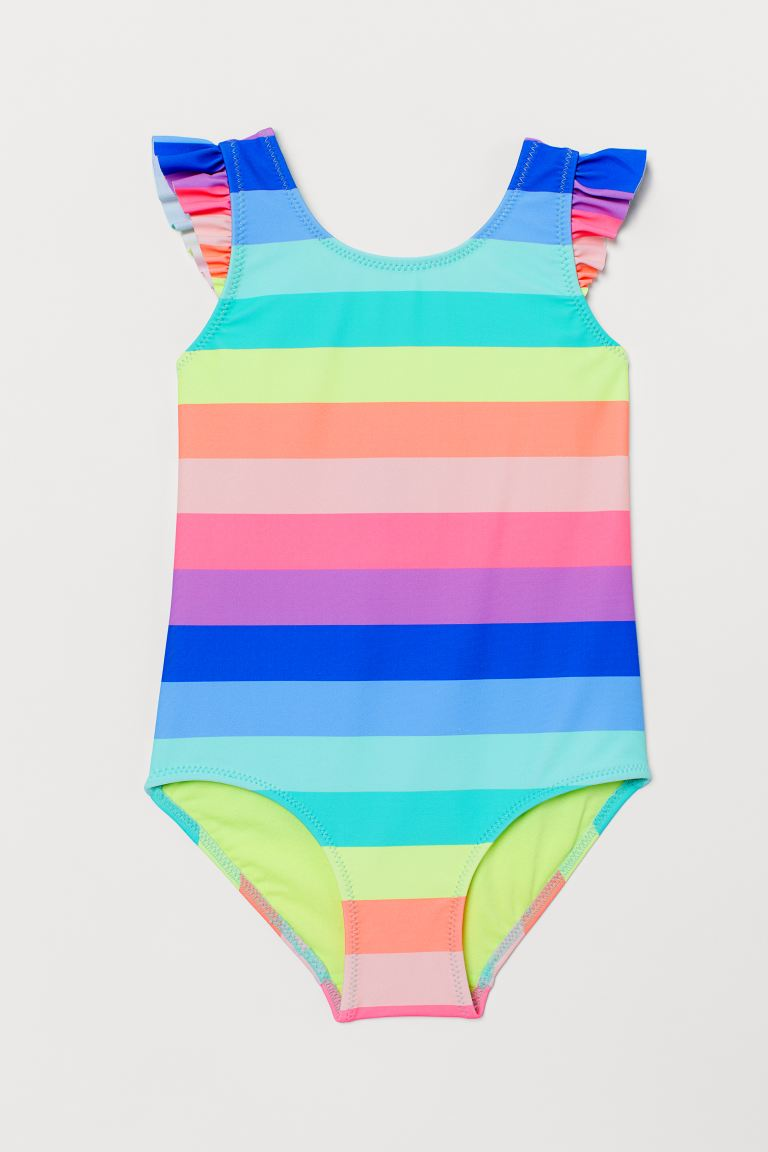 Patterned swimsuit - Yellow/Multicoloured stripes - Kids | H&M