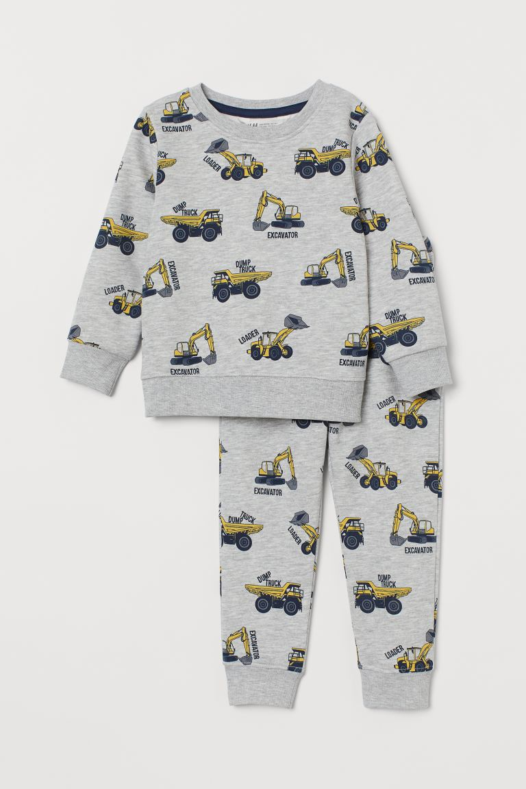 Top and joggers - Grey marl/Vehicles - Kids | H&M