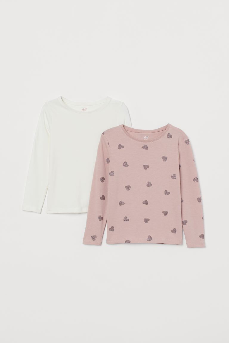 2-pack Long-sleeved Tops - Dusky pink/hearts - Kids | H&M CA