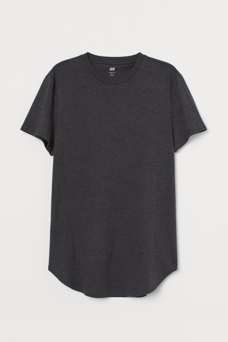 Playera Long Fit - Gris jaspeado oscuro - Men | H&M US