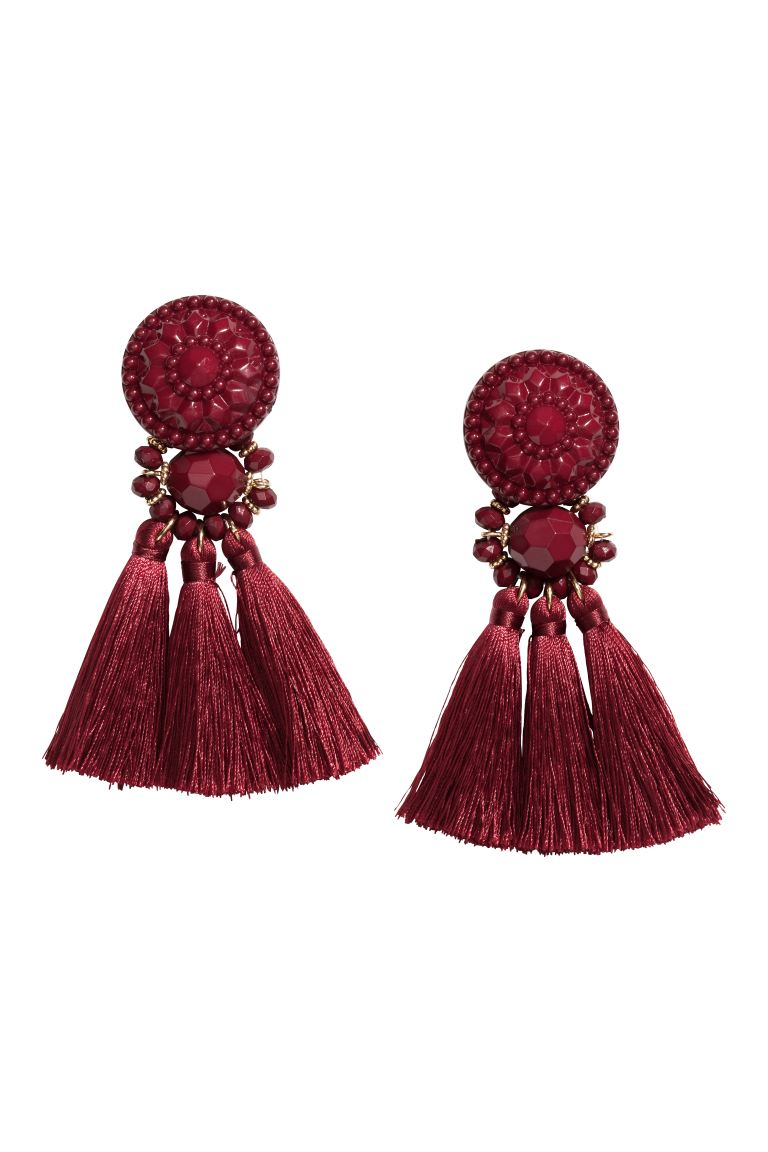 Earrings with Tassels - Burgundy - Ladies | H&M CA