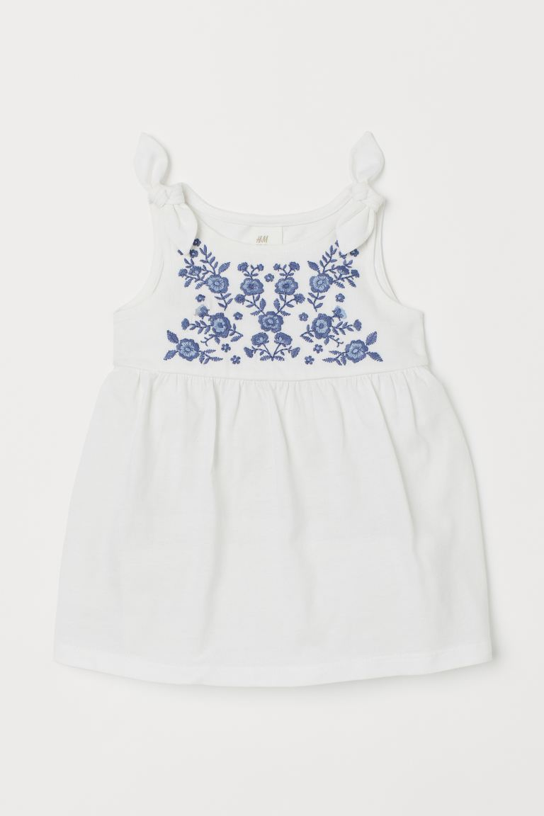 Embroidered dress - White/Flowers -  | H&M IN