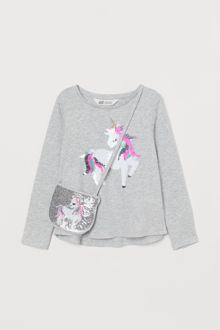 Top and shoulder bag - Light grey marl/Unicorn - Kids   H&M GB