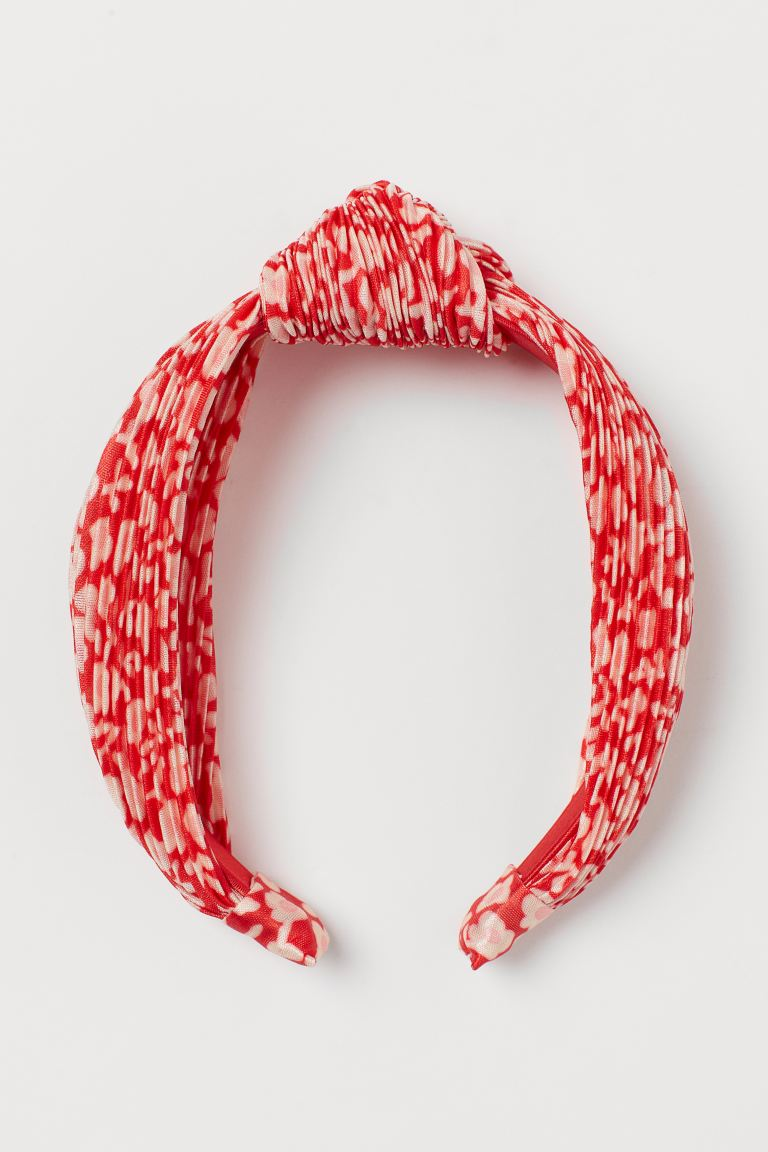 Hairband with Knot Detail - Red/white patterned - Ladies | H&M US