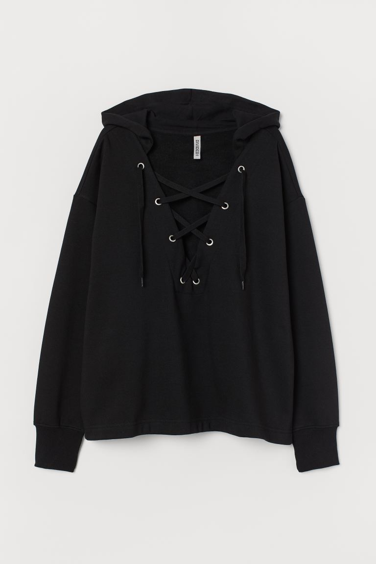 Hoodie with Lacing - Black - Ladies | H&M US
