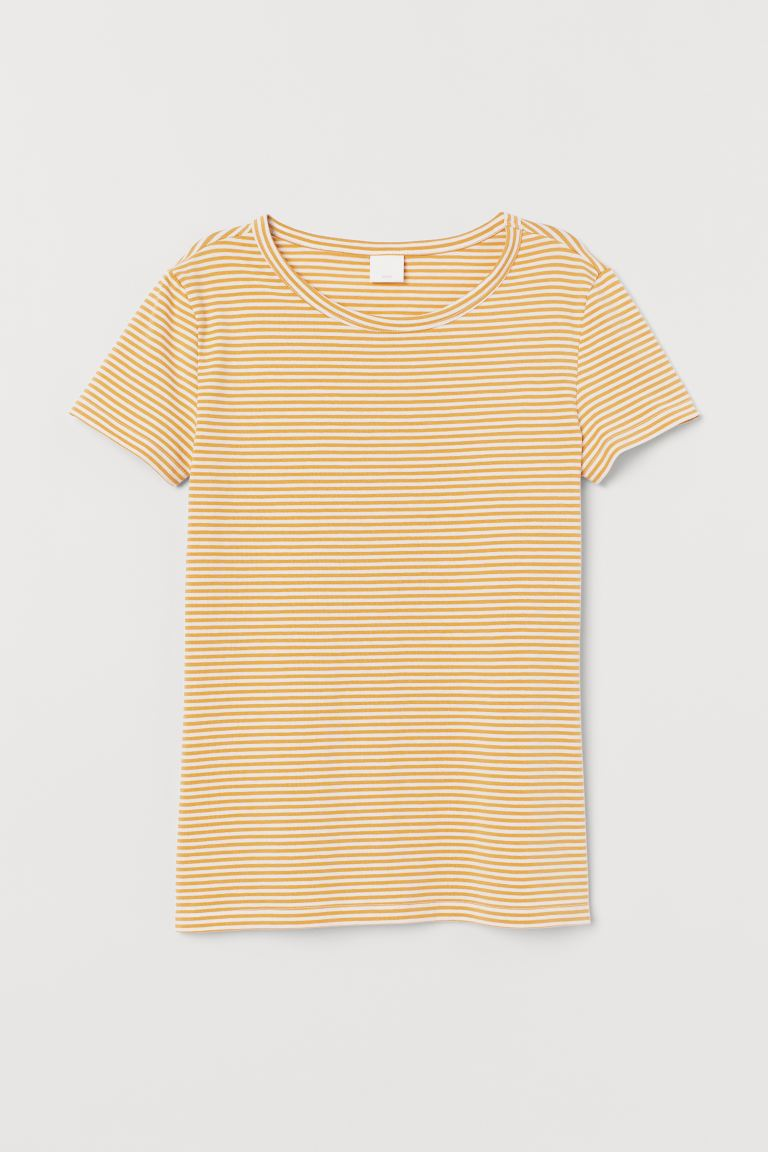 Playera de punto - Amarillo/Rayas blancas - Ladies | H&M US