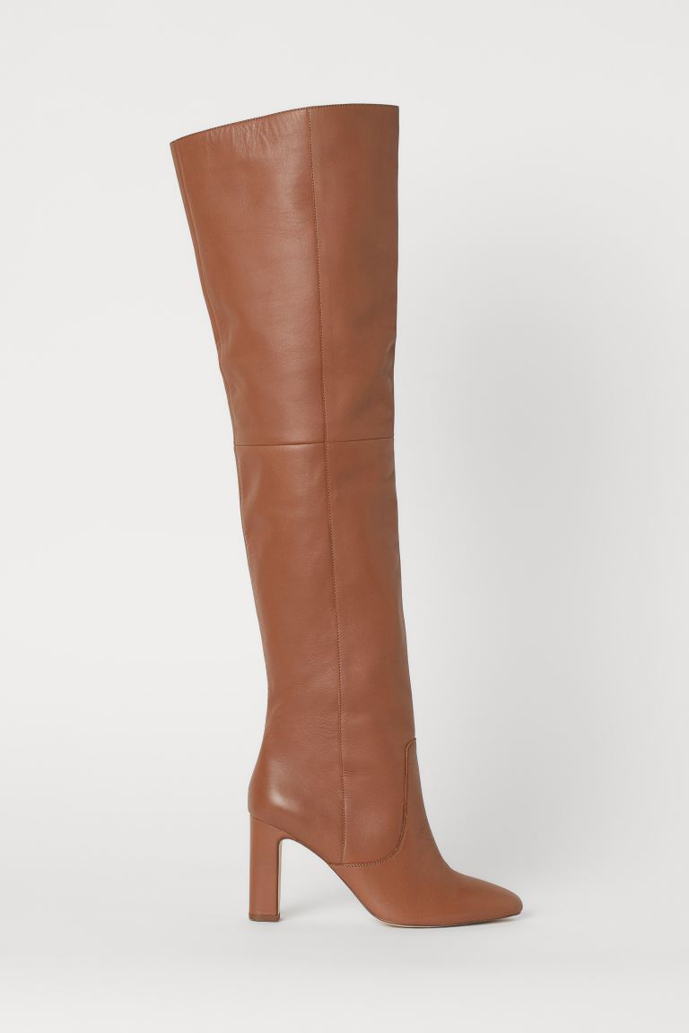 Leather Thigh-high Boots - Light brown - Ladies | H&M US
