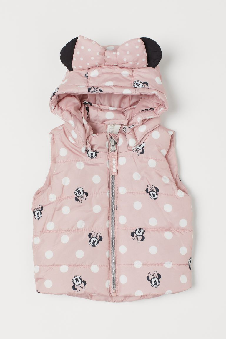 Wattierte Weste mit Kapuze - Hellrosa/Minnie Maus - Kids | H&M AT