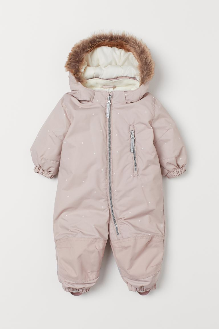 Water-repellent all-in-1 suit - Light pink/Hearts - Kids | H&M