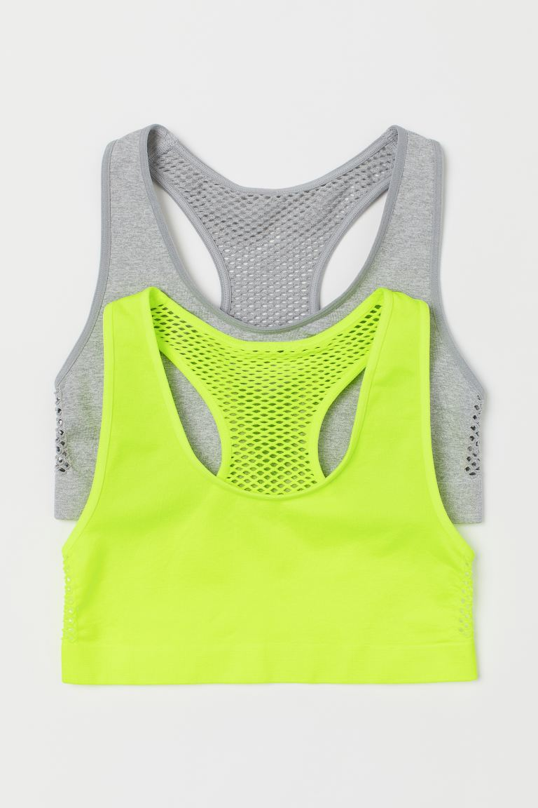 2-pack seamless tops - Light grey marl/Neon yellow - Kids | H&M