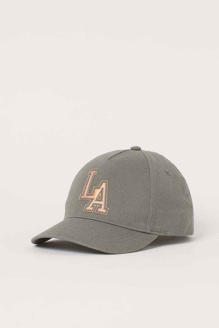 Cotton cap - Light khaki green/LA - Kids   H&M GB
