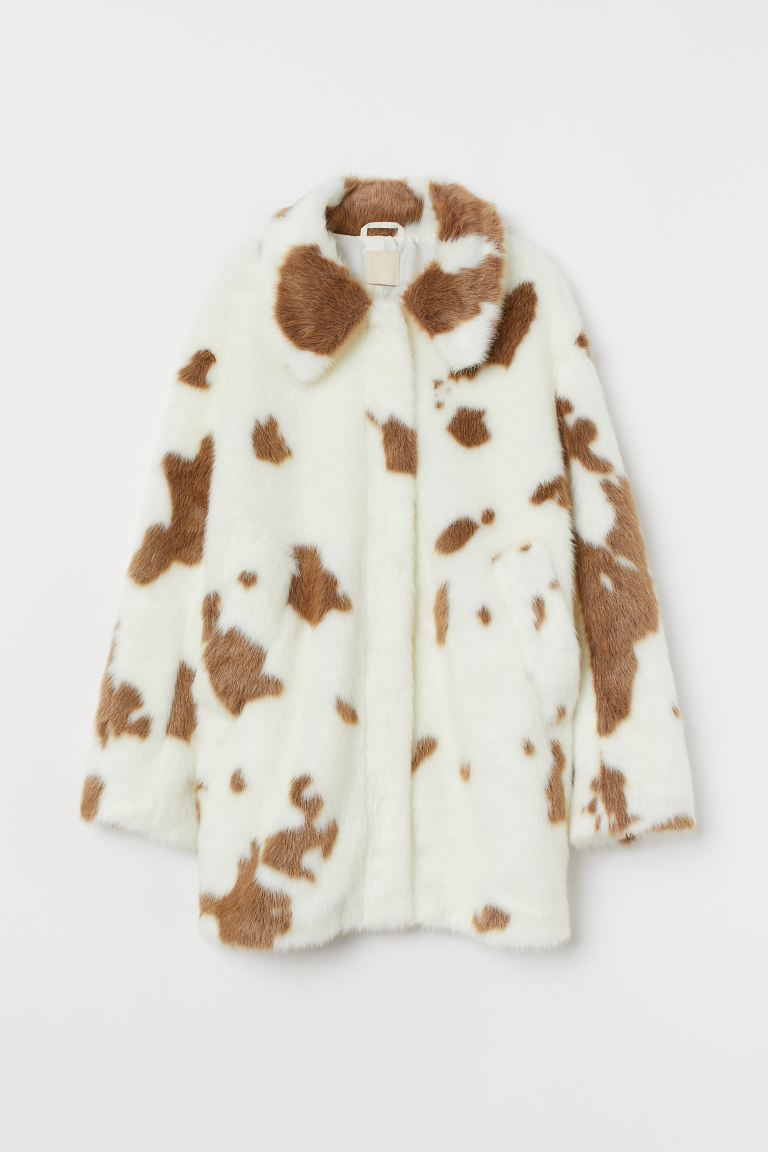 Faux fur jacket - Natural white/Beige - Ladies | H&M GB
