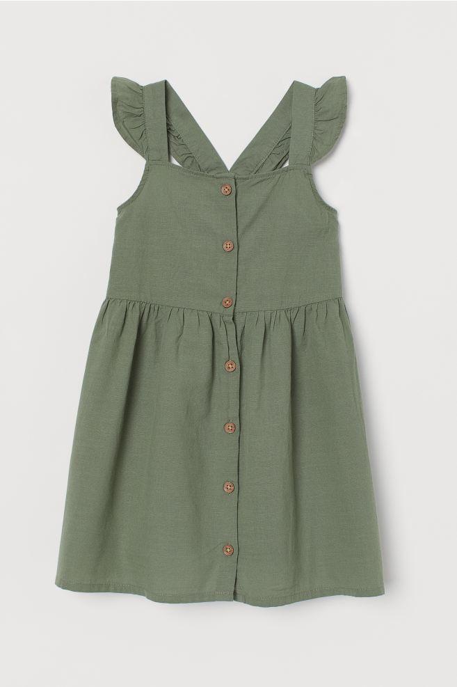 Cotton Dress - Khaki green - Kids | H&M US 3