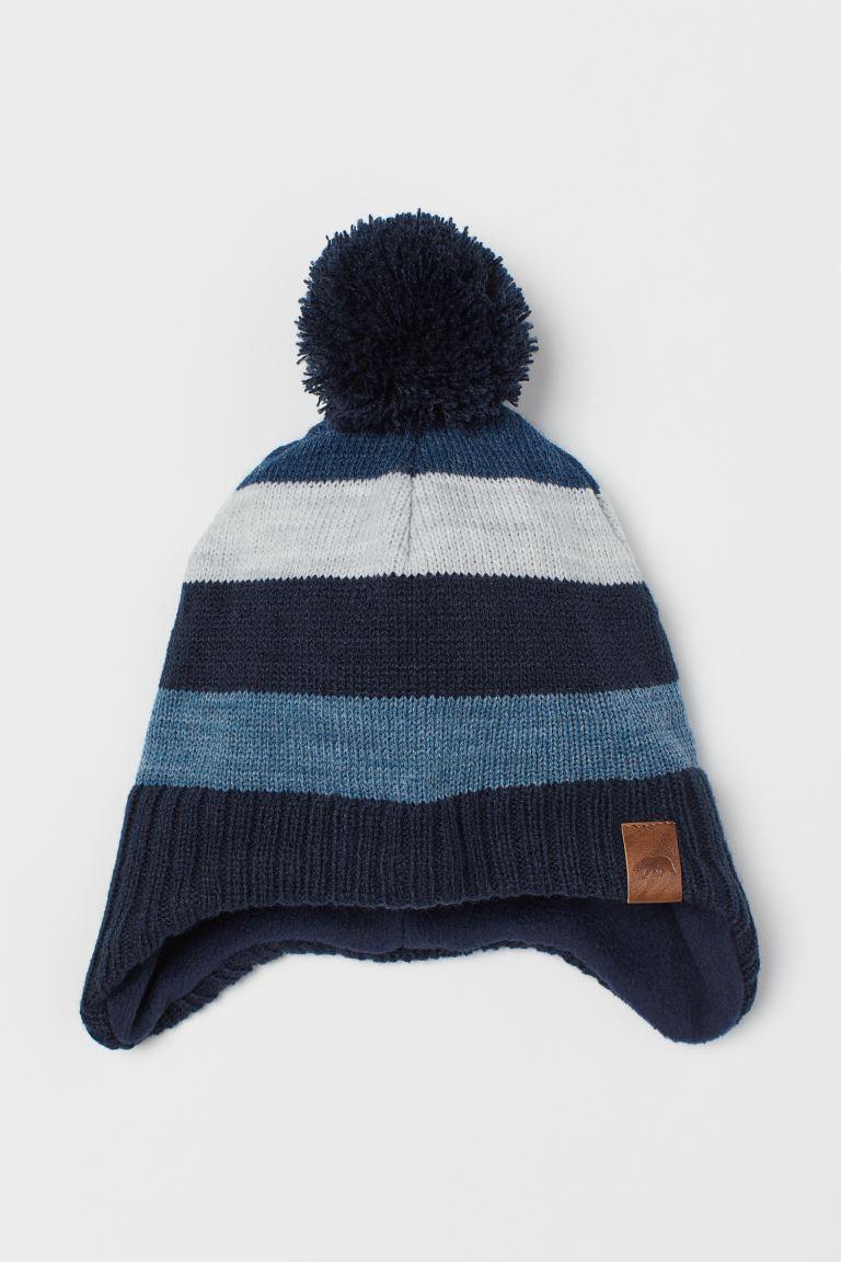 Fleece-lined hat - Dark blue/Striped - Kids | H&M GB