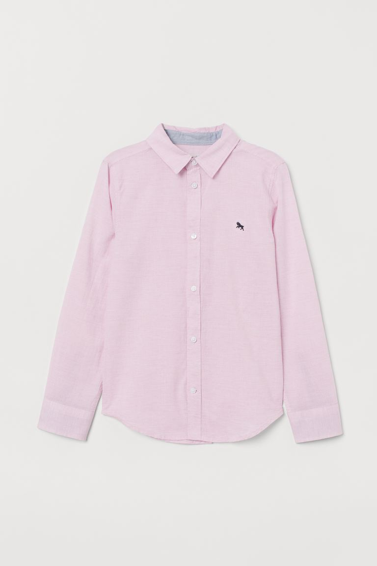 Cotton Shirt - Light pink melange - Kids | H&M CA