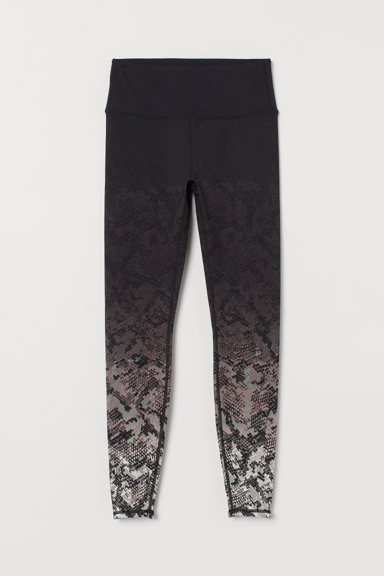 Sports tights High Waist - Black/Snakeskin-patterned - Ladies | H&M IE
