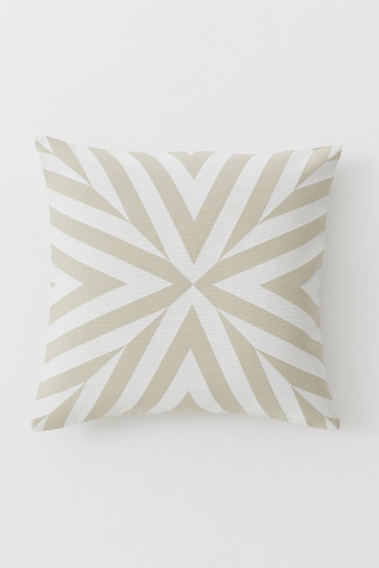 Jacquard-weave Cushion Cover - Light beige/natural white - Home All | H&M US
