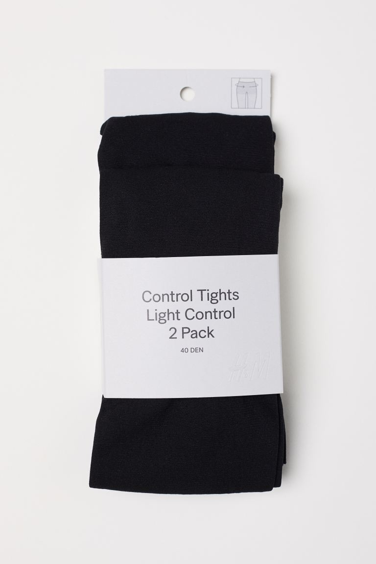 Collants Control top, pack-2 - Preto -  | H&M PT