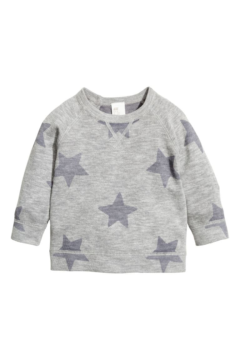Fine-knit cotton jumper - Grey/Stars - Kids | H&M GB