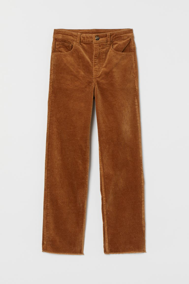 Ankle-length Corduroy Pants - Dark beige - Ladies | H&M US