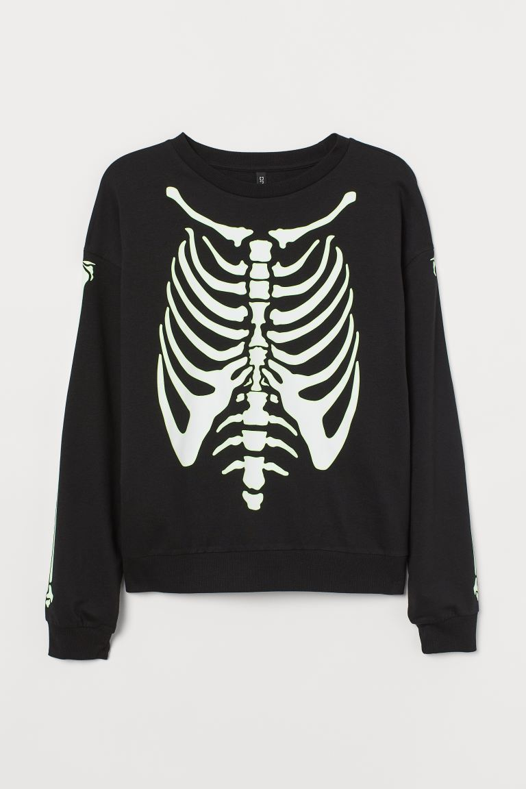 H&M+ Sweatshirt - Black/Glow-in-the-dark - Ladies | H&M IE