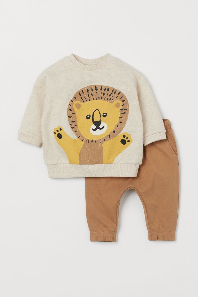 2-piece cotton set - Dark beige/Lion -  | H&M