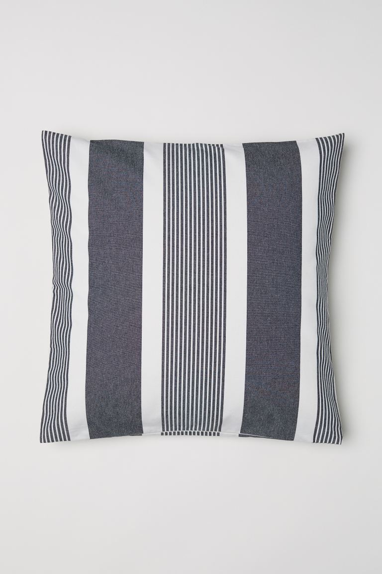 Striped Cushion Cover - Dark gray/striped - Home All | H&M US