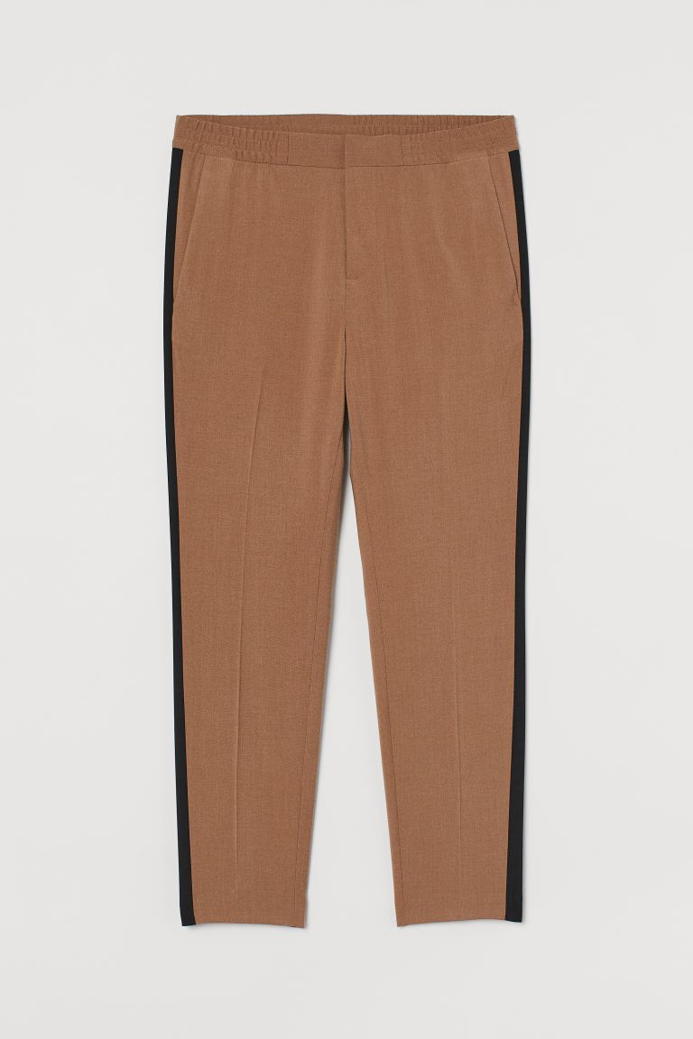 Side-striped suit trousers - Dark beige - Men | H&M