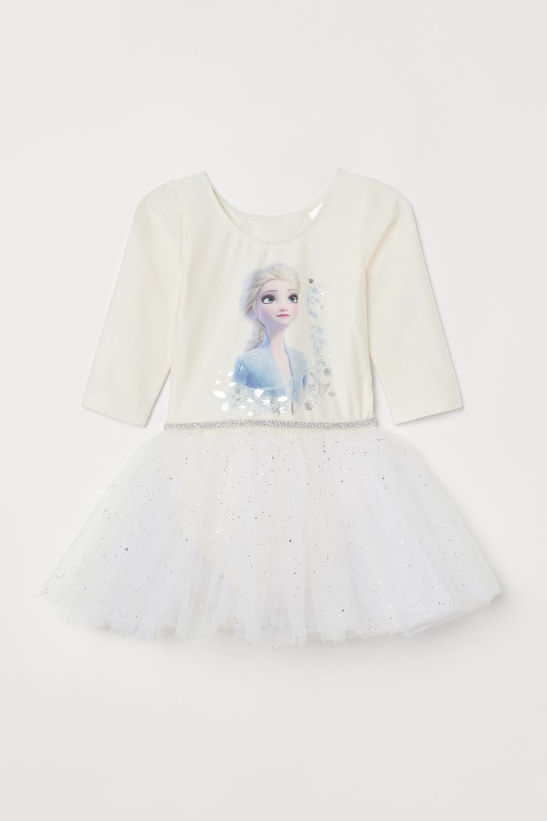 Leotard with a tulle skirt - Natural white/Frozen - Kids | H&M