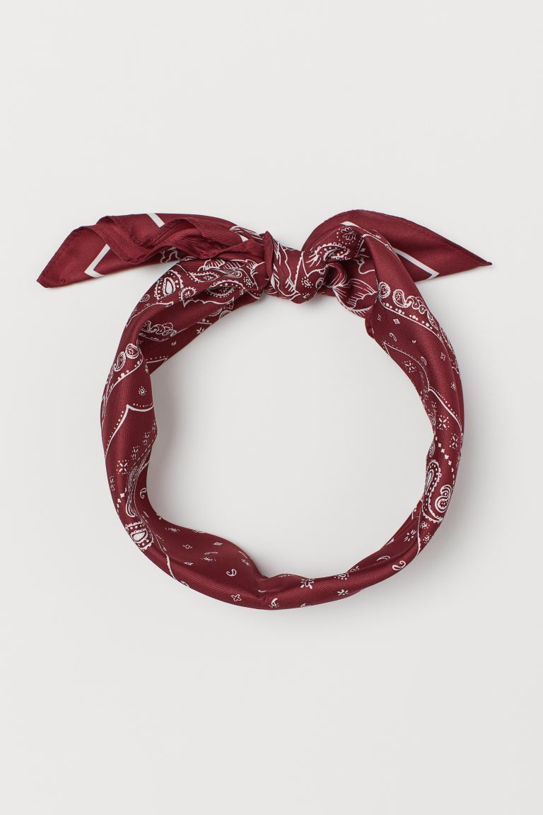 Patterned scarf - Dark red/Paisley-patterned - Ladies | H&M IN