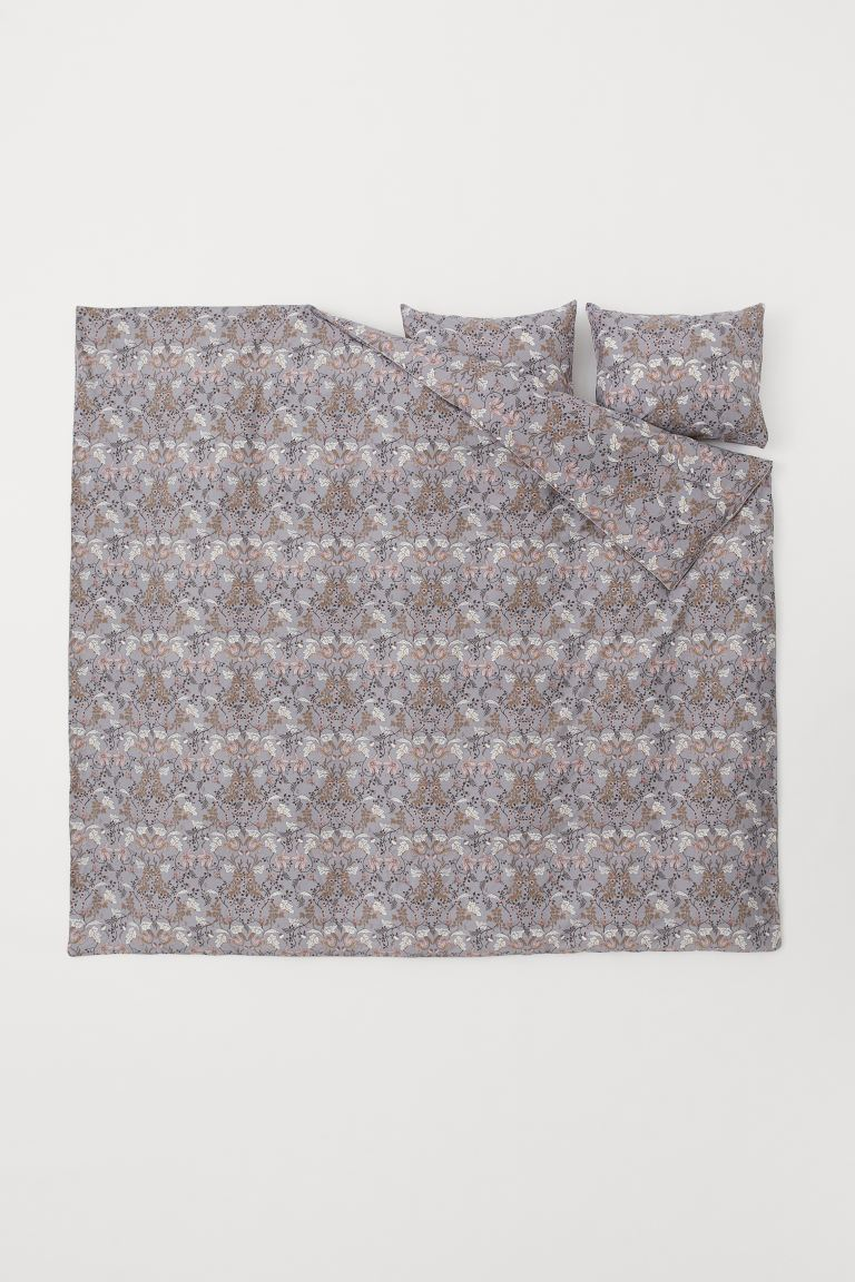 Patterned duvet cover set - Grey/Floral - Home All | H&M GB