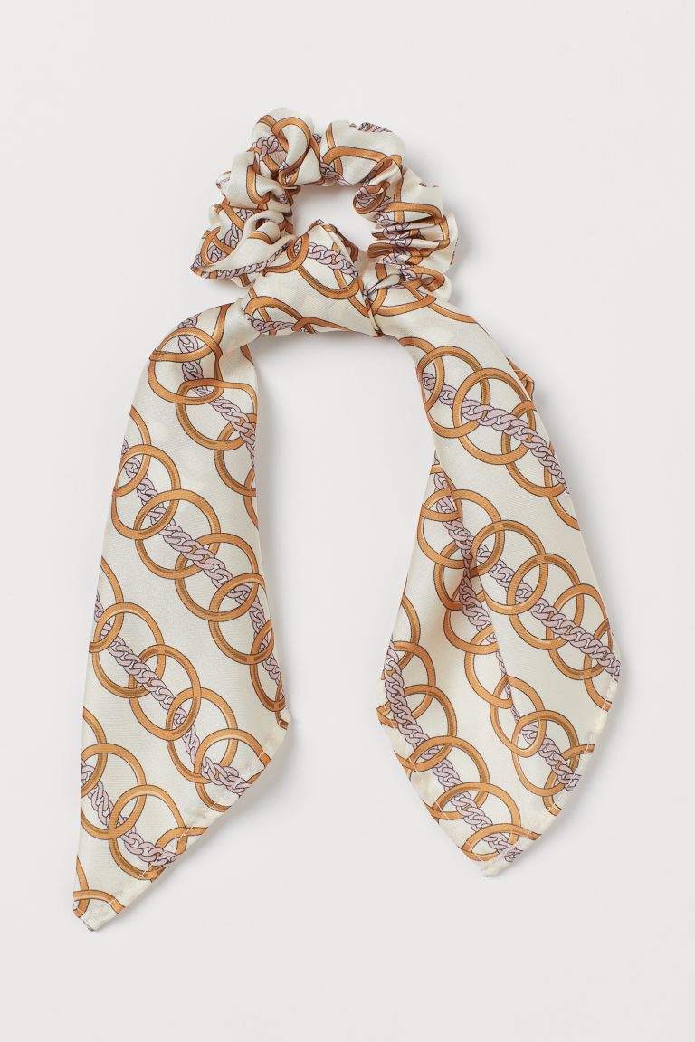 Scarf-detail Scrunchie - Cream/chains - Ladies | H&M CA