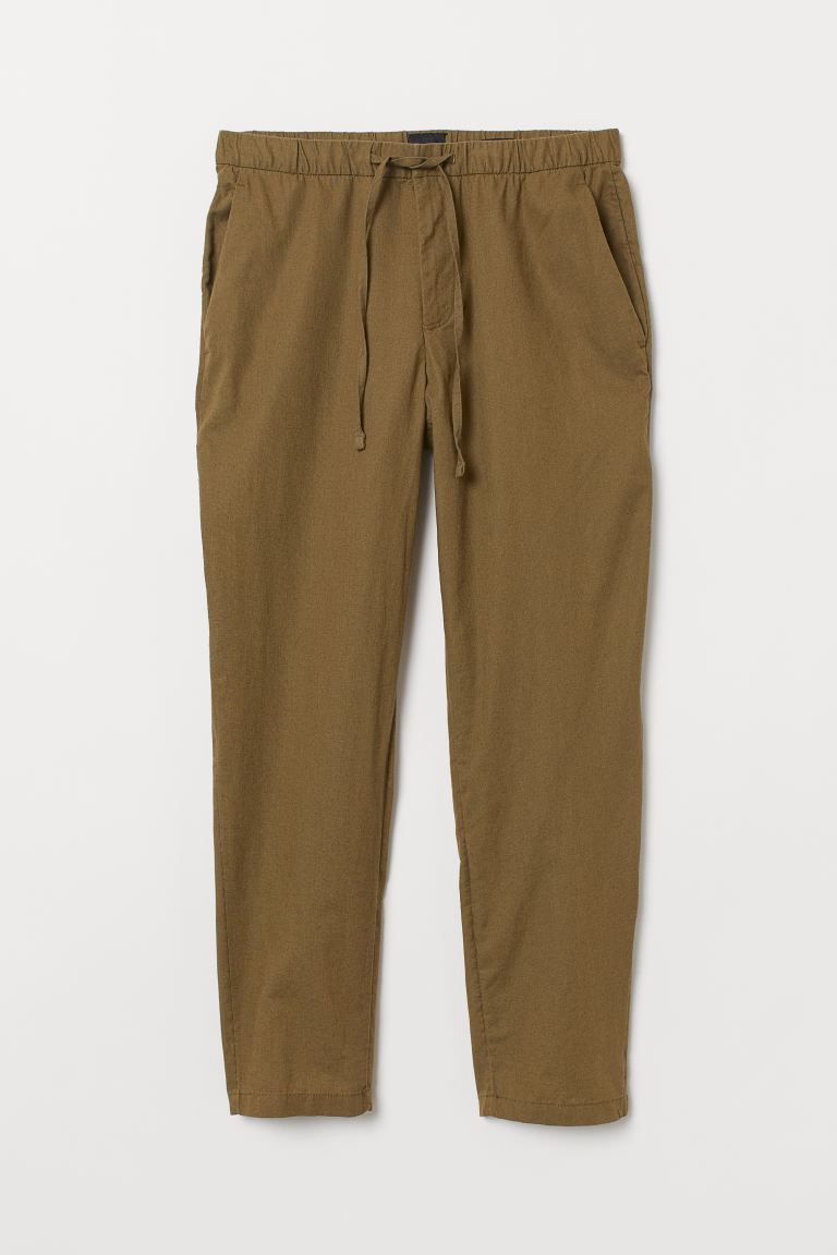 Relaxed Fit Linen-blend Pants - Khaki green - Men | H&M US
