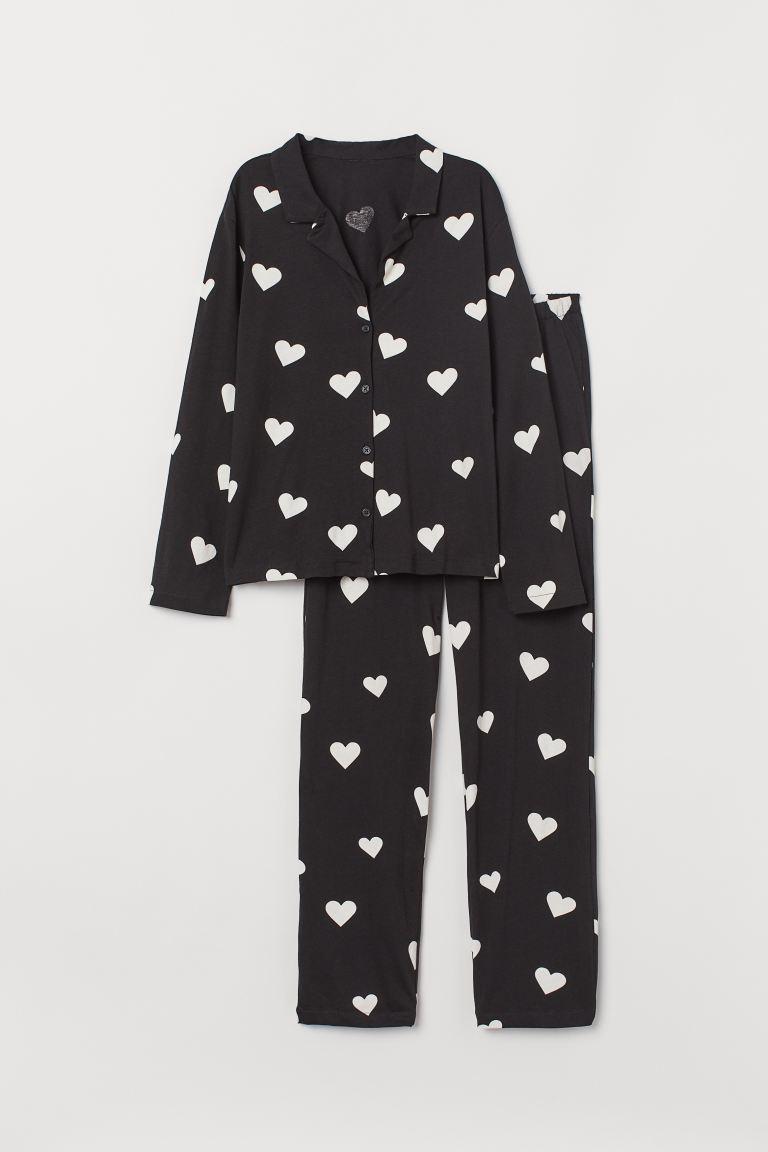 Pyjamas med skjorta och byxa - Svart/Hjärtan - DAM | H&M SE