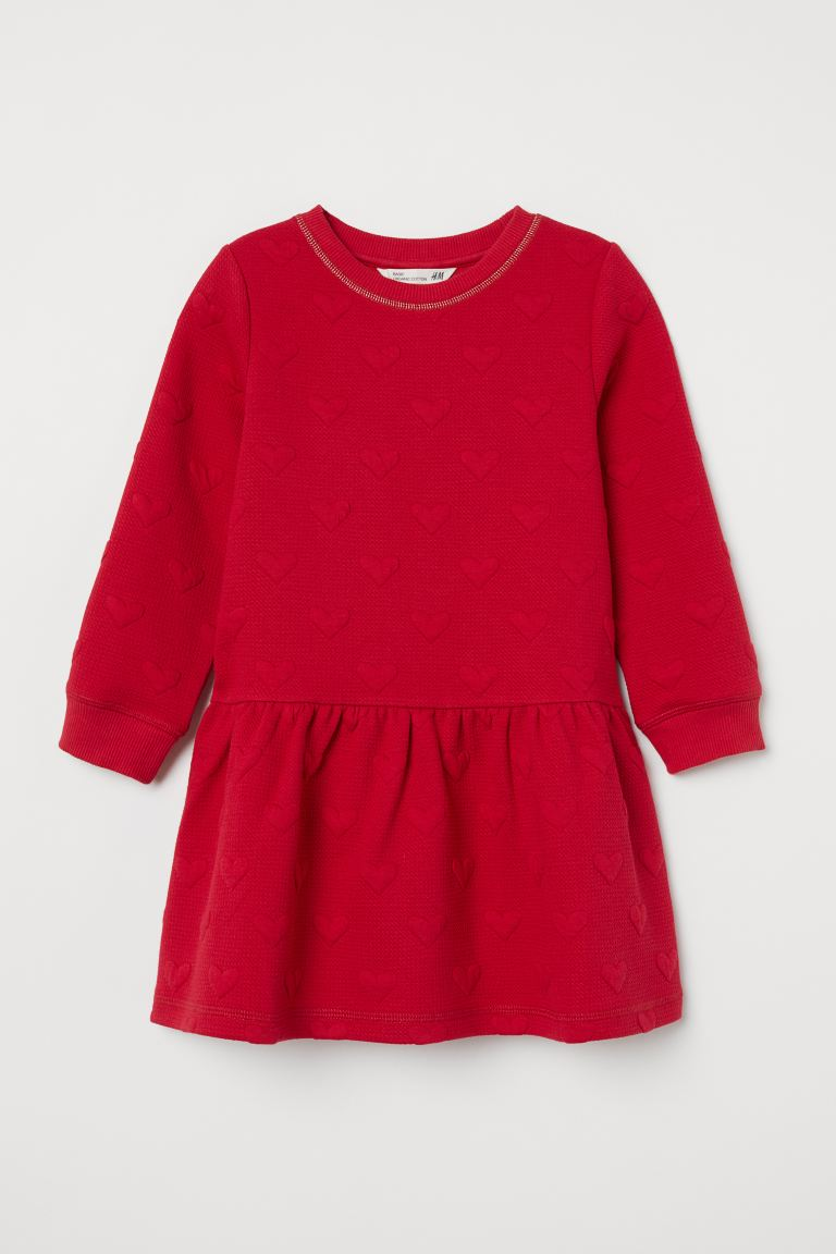 Textured Dress Red Hearts Kids H M