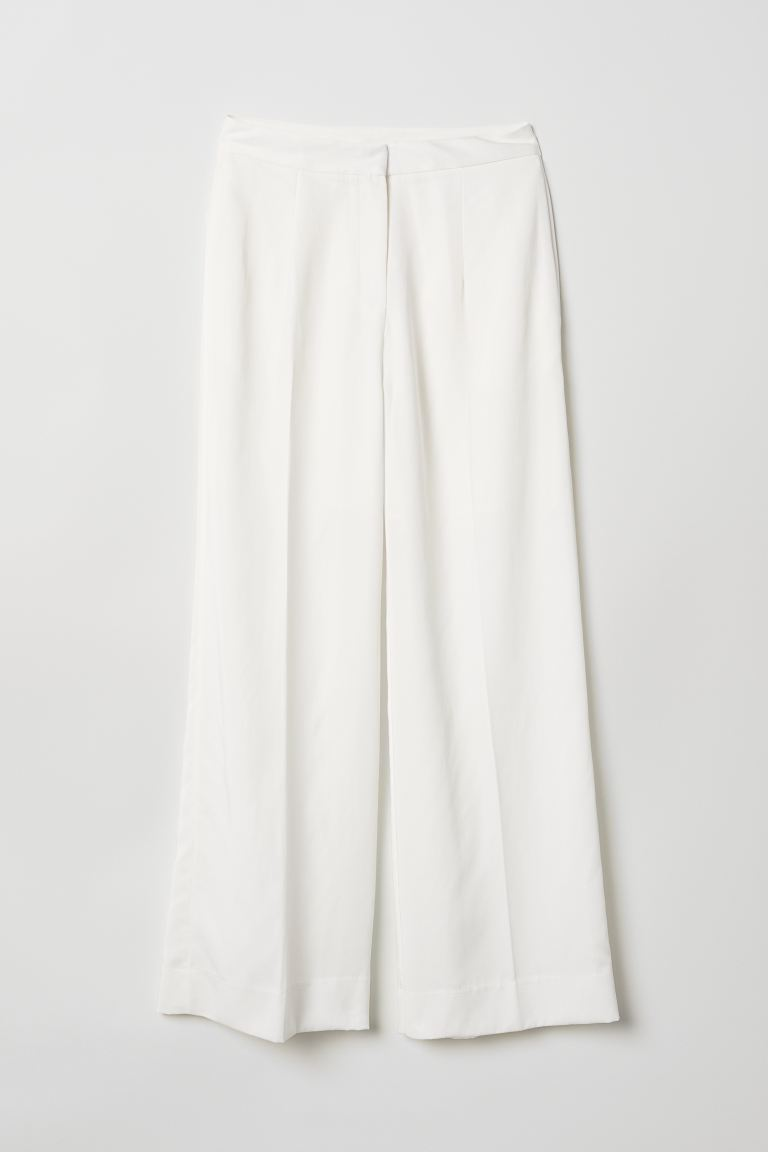 Lyocell-blend trousers - White - Ladies | H&M GB