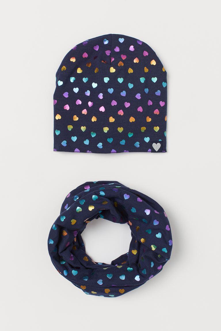 2-piece jersey set - Dark blue/Hearts - Kids | H&M GB